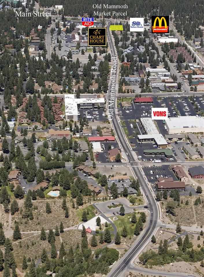 Perhaps the best vacant commercial parcel remaining in Mammoth Lakes.   This 1.32 acre site is 2 contiguous parcels with an estimated 316 feet of frontage on Old Mammoth Road.  Visible from Main Street, graded and ready to go.  Property is zoned CG-Commercial General and is at the eastern edge of the Downtown Neighborhood District Plan.  Ideal for a boutique market, restaurant or high density lodging.  High traffic location with excellent visibility across the street from Rite Aid and Footloose Sports.  Could be an assembled purchase with a property to the south.